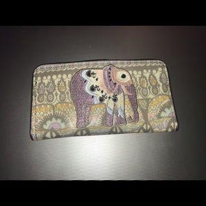 Sakroots Slim Elephant Wallet Pastel One World